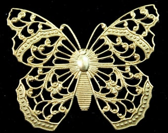 Large Exquisite Raw Brass Butterfly Filigree Stamping Victorian Style Made in USA - 2pcs