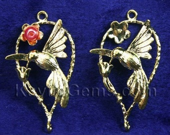 Cherry Flower Humming Bird Charm Pendant Connectors Gold Over Brass - 2pcs