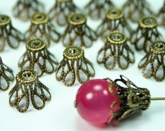 10-14mm Antique Bronze Filigree Bead Caps - Large - 30pcs