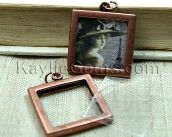 2 Sets Picture Frame Charm Pendant Double Sided Rectagle Square 25x25mm - Antique Copper