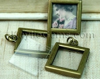 Picture Frame Charm Pendant Earring Drop Double Sided Rectagle Square 17x17mm - Antique Brass - 2 Pcs