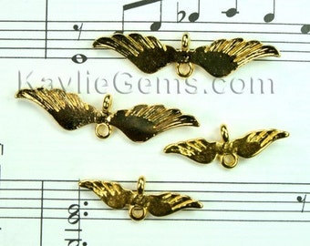 Gold Angel Wing Charm Connectors  8 Pcs- Four Large and Four Small