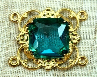 Octagon Square Jewel 15mm Raw Brass Victorian Filigree Focal Connector - Green Blue Indicolite