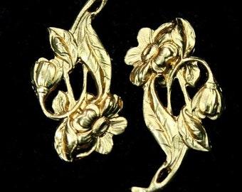 USA Premium Quality Raw Brass Flower Stamping Filigree Finding FL-G5933 -- 2pcs