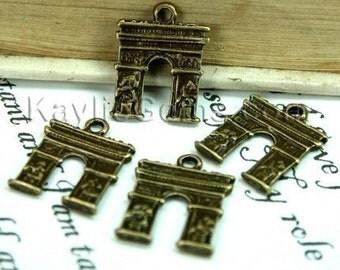 Antique Brass Paris Arc de Triomph charms, Drops - 8pcs