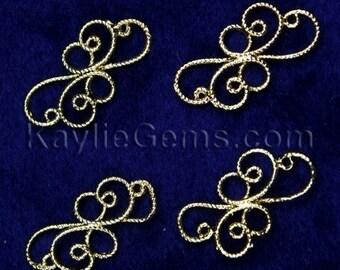 Gold Victorian Floral Curvy Wire Connectors -CNR-P2830GP -8pcs