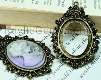 Cameo Frame Setting Antique Brass Victorian Decorative Rhinestone Embellish  FRM-5830AB -2pcs