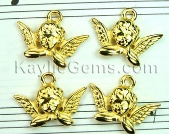 8 Pcs Gold Plated Cupid Angel Wing Charms