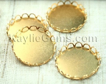Raw Brass 20mm Round Lace Edge Cup Setting Base -6pcs