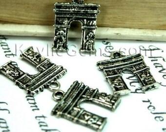 Antique Silver Paris Arc de Triomph charms, Drops - 8pcs