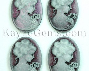 Cameo 18x25mm Shimmery Victorian Lady Portrait  - Light Reflecting Indian Red Shine -4pcs
