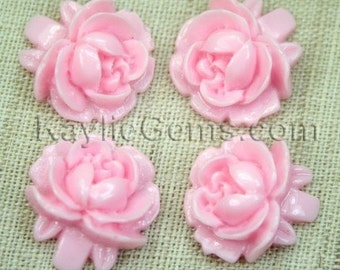 Resin Peony Rose Flower Cabochon Cabs 17mm  - Creamy Pink - 6pcs