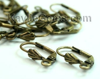 Leverback Earwires Sea Shell Antique Brass 10x18mm  - EW-L10x20AB - 12pcs