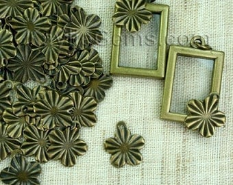 50 pcs Antique Brass Stamping Cherry Blossom Charms