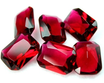 14x10mm Glass Jewel Octagon Faceted  Diamond Cut Pointed Back Unfoiled - Rose Red - 2 pcs