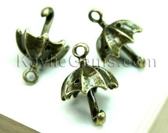 6 pcs Cute Umbrella Antique Brass Charms