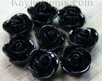 14mm Rose Cameo Cabochon Flat back  - Black - 8pcs