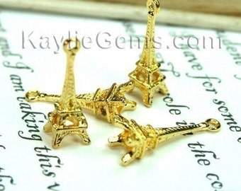 Paris Eiffel Tower charms - Gold - 6 pcs