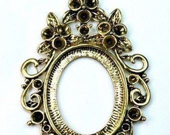 Cameo Frame Setting Antique Gold Victorian Rhinestone Embellished -  FRM-5819AG - 2pcs
