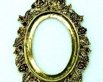 Cameo Setting Frame Pendant Antique Gold Victorian Rhinestone Rose FRM-5830AG - 2pcs