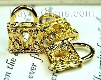 Gold Lock Charms Pendants 3-D Antique Style - 4 Pcs