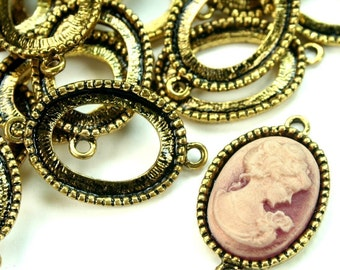 Antique Gold 13x18 Cameo Cabochon Frame Setting Connectors 2 Ring - FRM-5908AG -6pcs