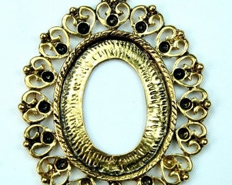 Victorian Cameo Setting Frame Base Antique Gold Rhinestone Embellishement FRM-5819AG - 4pcs