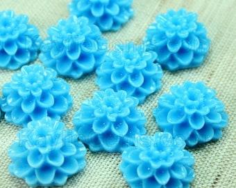 Dahlia Chrysanthemum Flower Cabochon Cabs 14mm - Blue -8pcs