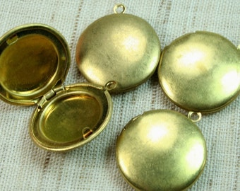 Raw Brass 20mm Locket  Pendants Charm Plain Smooth -LKRS-127RB - 12pcs