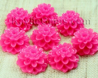 Dahlia Chrysanthemum Flower Cabochon Cabs 14mm - Magenta - 8 pcs