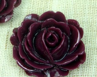 Large Resin Peony Rose Flower Cabochon Cabs 26mm  - Burgundy - 4pcs