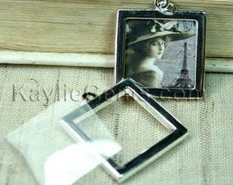 Picture Frame Charm Pendant Double Sided Rectagle Square 25x25mm - Silver Plated - 2 Sets