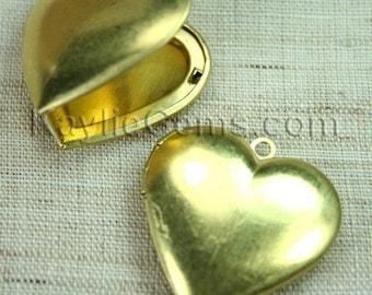 Heart Locket Raw Brass Plain Smooth   - LKRS-122AB-4pcs