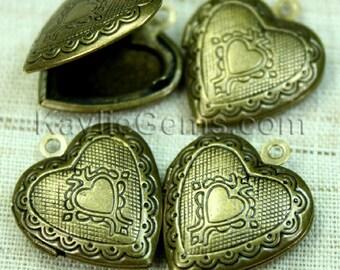 Heart Locket Antique Brass Victorian Style -LKHS-113AB - 4pcs