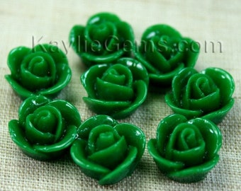 Rose Flower Cabochon Cabs 14mm - Dark Green - 8pcs