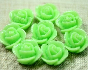 Rose Flower Cabochon Cabs 14mm - Green - 8pcs