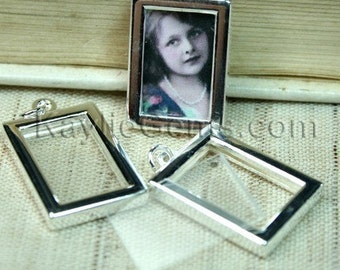 Picture Frame Charm Pendant Earring Drop Double Sided Rectangle 16x22mm - Silver Plated - 2 Sets