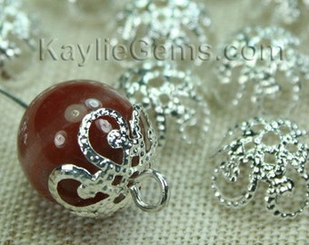 Bead Cap Silver Plated Over Brass Filigree Art Deco Floral -11mm -24 pcs