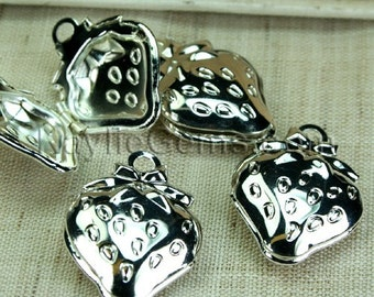 4pcs Locket Strawberry with Bow Rhodium Silver Plated