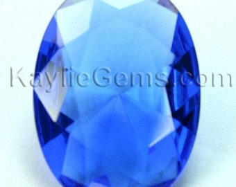 22x30 Oval Glass Jewel Faceted Diamond Cut Pointed Back Unfoiled -Lt. Sapphire BA203 -1pc