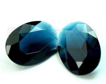 18x25 Oval Glass Jewel Faceted Diamond Cut Pointed Back Unfoiled -London Blue BA210 -1pc