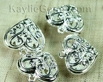 Filigree Heart Charms Silver Victorian Lacy Foral -4pcs