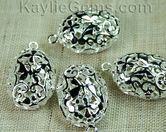 Silver Filigree Foral Charm Drop Oval Victorian Butterfly Flower  3D - 4pcs