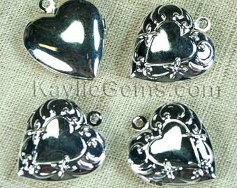 Heart Locket Silver Victorian Style -LKHS-1398SP - 4pcs