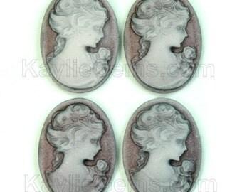18x25mm Cameo Victorian Lady Portrait - Old Lavender  4pcs