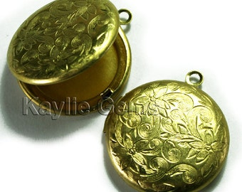 Raw Brass 26mm Round Locket  Floral Victorian Style LKRS-L26RB - 4pcs