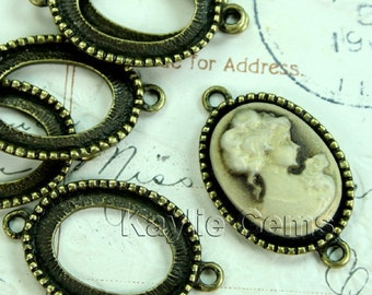 13x18 Antique Brass Camoe cabochon Frame Setting Connectors 2 Rings Open Back - FRM-5908AB -6pcs