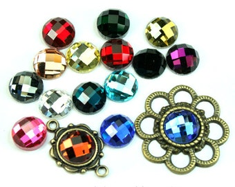 Mirror Glass Cabochon Cab Round 10mm Checker Cut Faceted Dome -Pick Your Colors- 6pcs