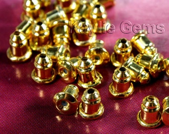 Ear Nut Clutch Back Gold Plated Over Solid Brass Barrel Bullet Style - 24 pcs