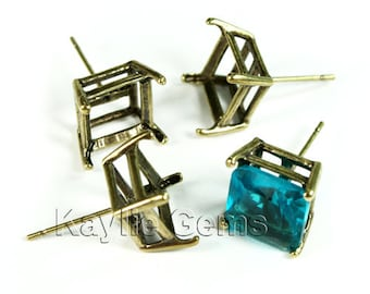 Earring Stud 10mm / 10x10mm Octagon Square Open Back Prong Setting Antique Brass -ST-P518AB - 4pcs